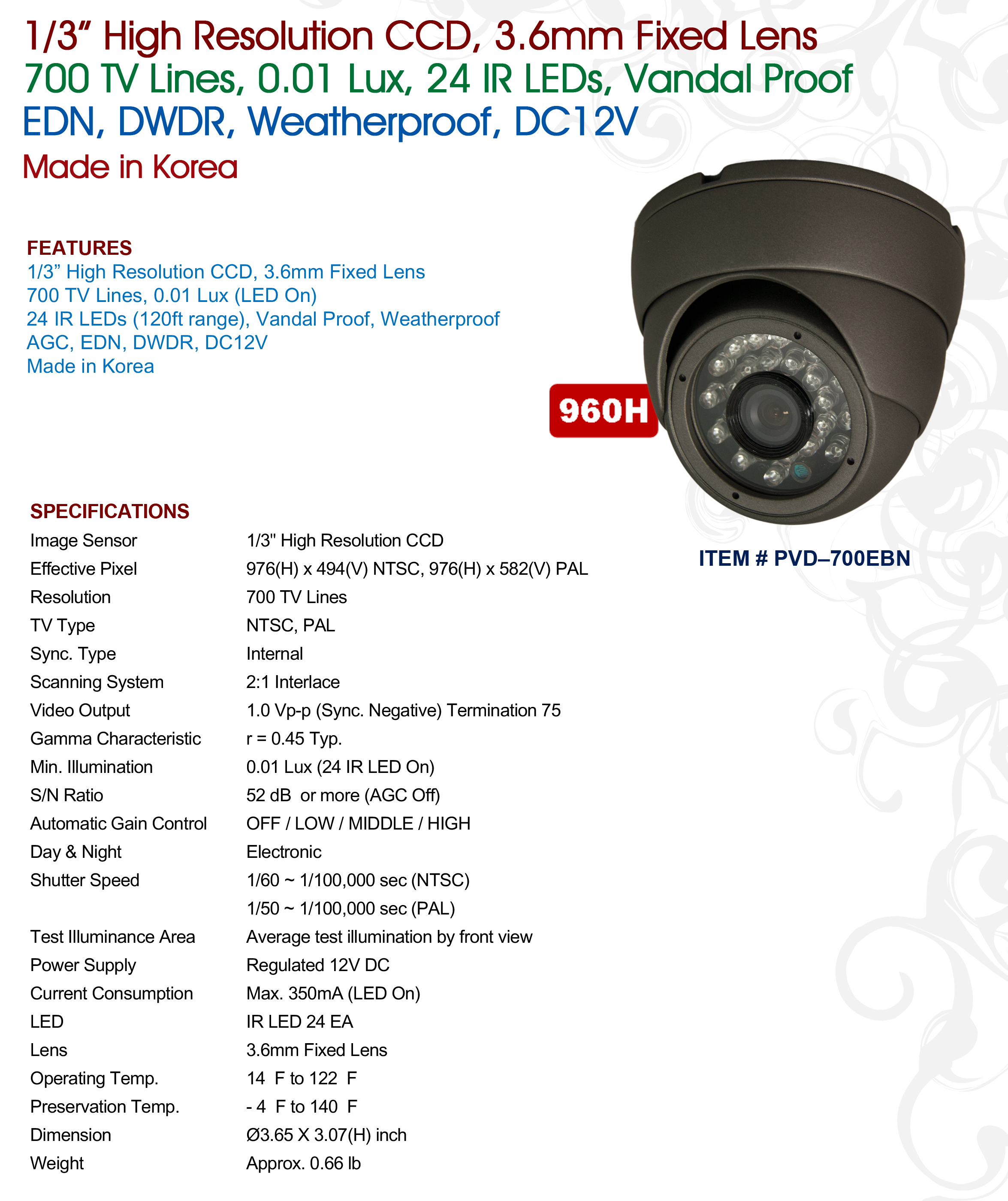 PVD-700EBN | CCTVSTAR Manufacture of Security Cameras, Video